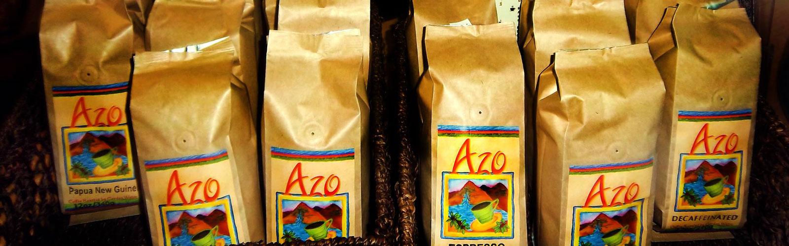 Bags of Azo coffee